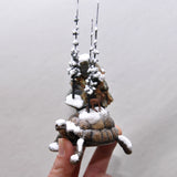 Snowy Tortoise Decorative Item, Snowy Trees, Moose, Rare Chrome Calchedony Sparkle