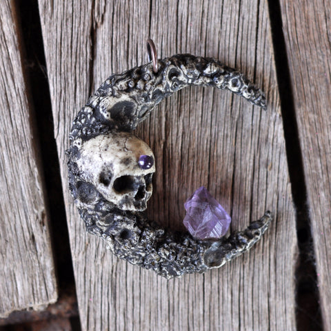 Skull Pendant, Crescent Moon Necklace, Amethyst Crystal Pendant