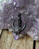 Black Cat Pendant, Crescent Sailor Moon Necklace, Pentagram Pendant, Amethyst Crystals Necklace, Gothic Style Pendant
