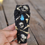Coffin Pendant, Realistic Human Skulls & Bones Pendant, Blue Flashy Labradorite Gemstone, Painted Polymer Clay, Gothic, Spooky
