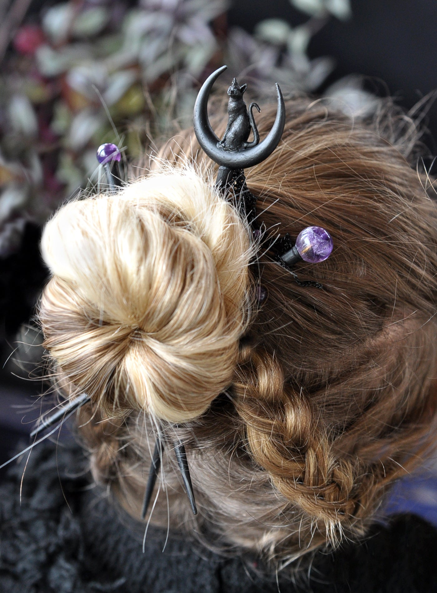 Black Cat Hair Sticks Crescent Sailor Moon Hair Wand Amethyst Hair A Umay Designs