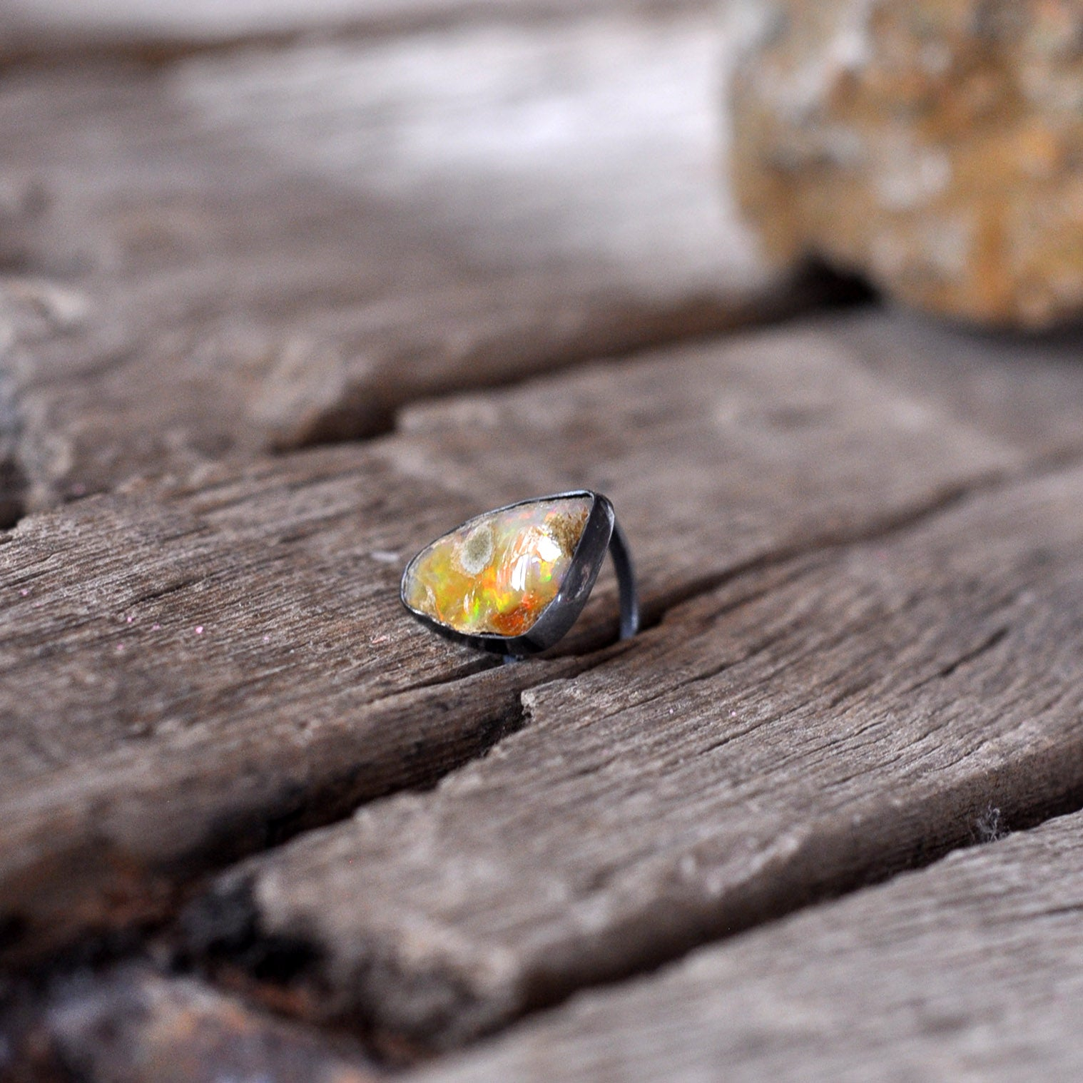 Raw Fire Opal Sterling Silver Ring, Solitaire Ring, Opal Ring, Pure Sterling Silver Ring