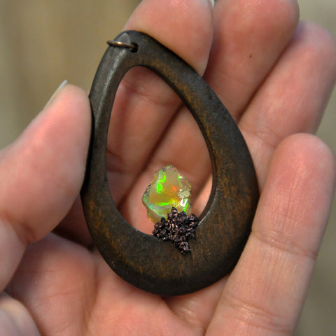 Wooden Pendant with Raw Fire Opal