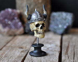 Realistic Viking Helmet Skull, Miniature Human Skull Art, Decorative Viking Helmed Skull, Gothic Style Decorative Art Object