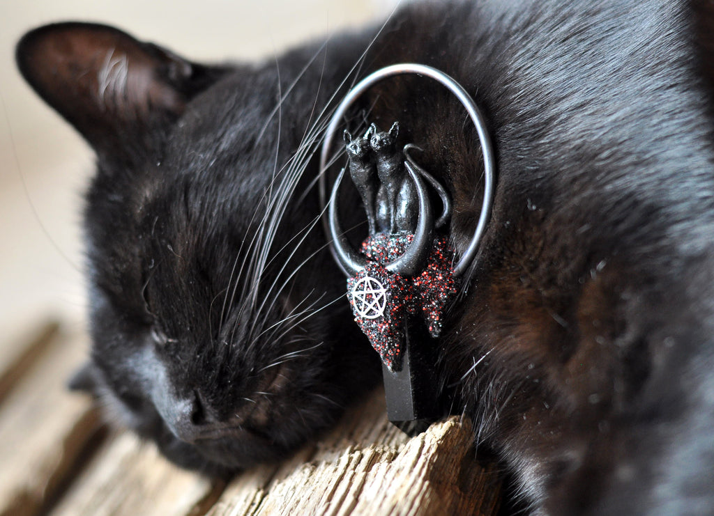 Black Love Cats Pendant, Black Obsidian Crystal Point Pendant, Pentagram Necklace, Polymer Clay Jewelry, Crescent Sailor Moon Pendant