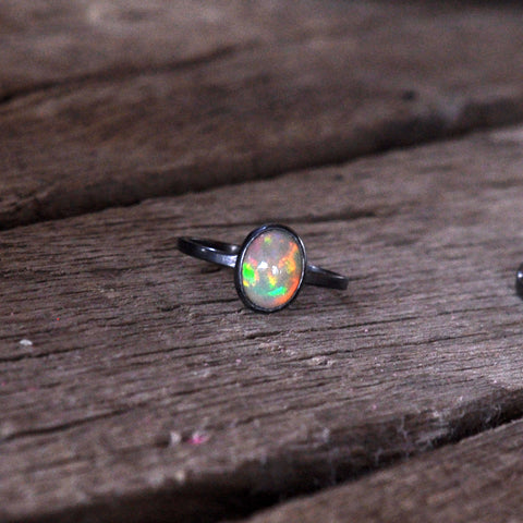 Fire Opal Sterling Silver Ring, Solitaire Ring, Opal Ring, Pure Sterling Silver Ring
