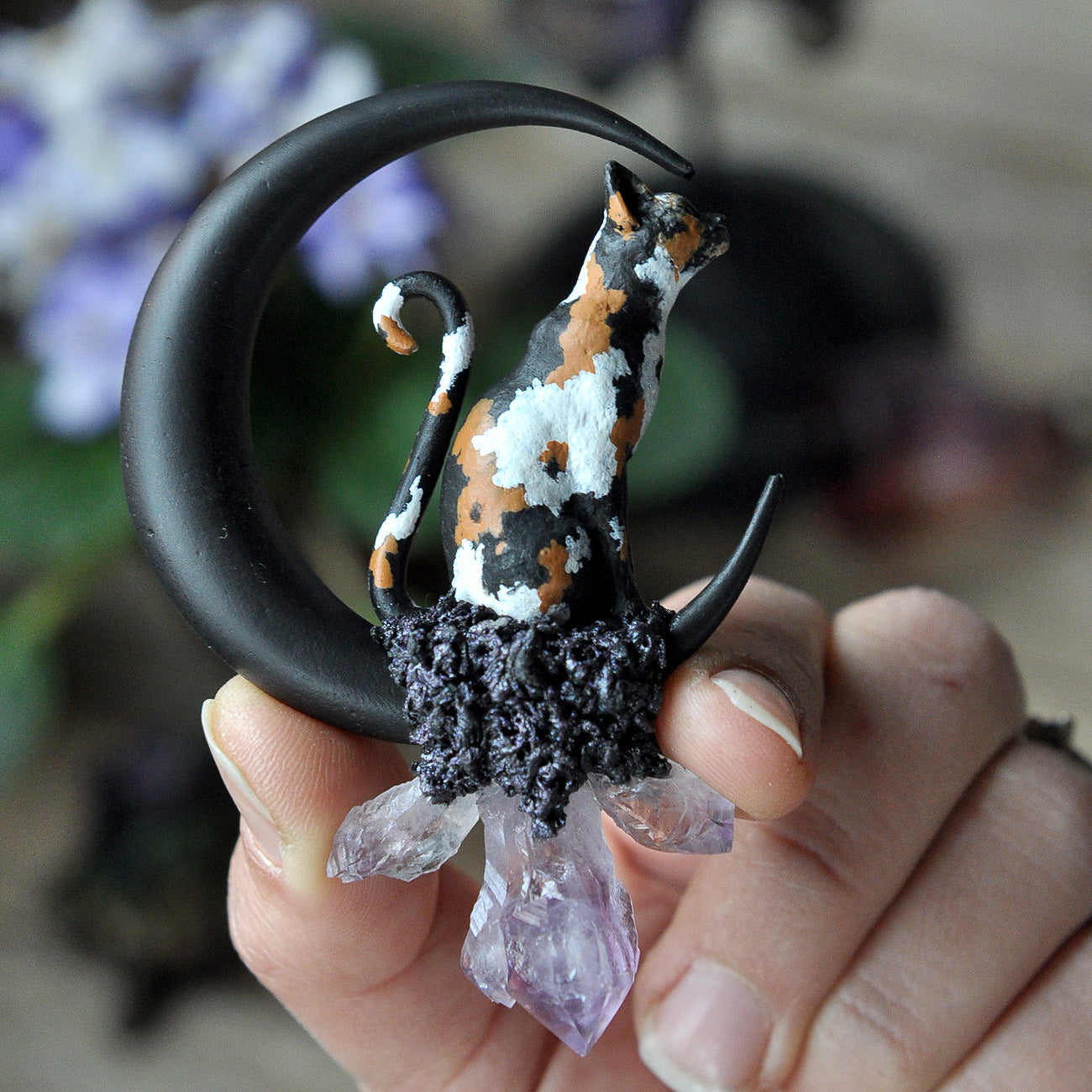 RESERVED - Hand Sculpted and Painted Colico Cat Pendant, Big Size Handmade Moon, Amethyst Crystals