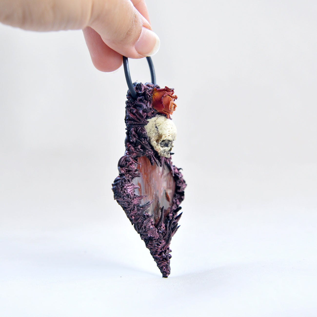 Hand Sculpted Realistic Skull Series Pendant with Special Sagenite Agate