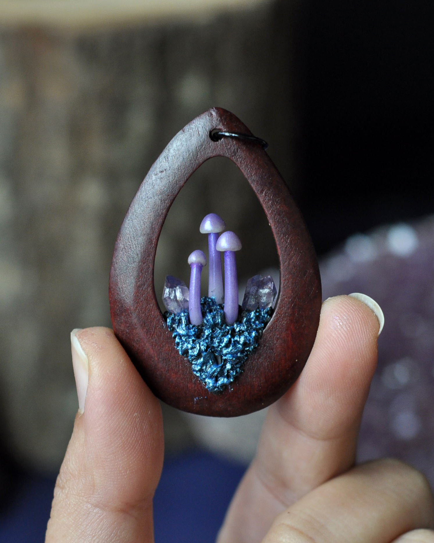 Mushrooms Pendant, Wine Red Rosewood Pendant, Polymer Clay Jewelry, Amethyst Crystals Necklace, Boho Style Necklace