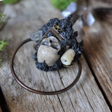 Realistic Human Skull Pendant, Handmade Candle, Handmade Old Book, Clear Quartz Crystals. Steampunk