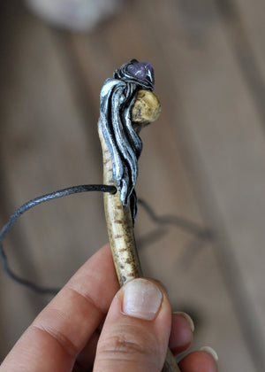 Handcrafted Realistic Bone Pendant, Amethyst Crystal Necklace, Polymer Clay Jewelry, Miniature Bone, Gothic Style Pendant