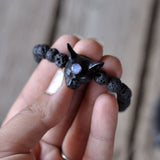 Black Cat Bracelet, Rainbow Moonstone Bracelet, Black Volcanic Lava Beaded Bracelet