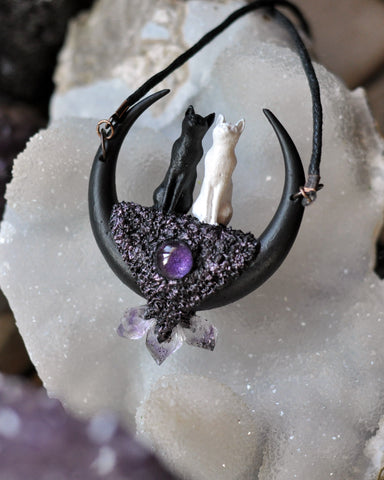 Made to Oder - Love Cats Pendant, Black Crescent Moon, Amethyst Round, Amethyst Crystals, Polymer Clay