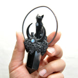 PRE ORDER- Hand Sculpted Black Cat, Black Obsidian Crystal Tower, Handmade Moon