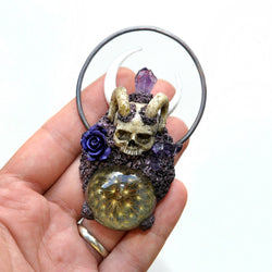 Reserved - CUSTOM ORDER - Hand Sculpted Realistic Skull Pendant with Horns