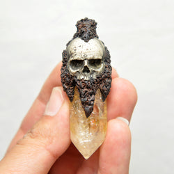 Hand Sculpted Reslistic Skull with a Citrine