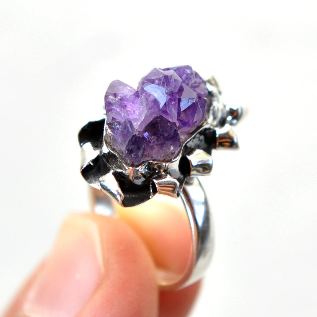 Amethyst Cluster Sterling Silver Ring
