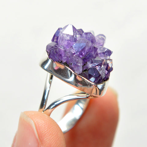 RESERVED - Amethyst Cluster Sterling Silver Ring
