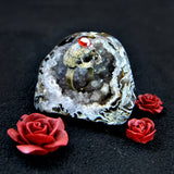 Hand Sculpted Realistic Skull Ring with a Red Zircon