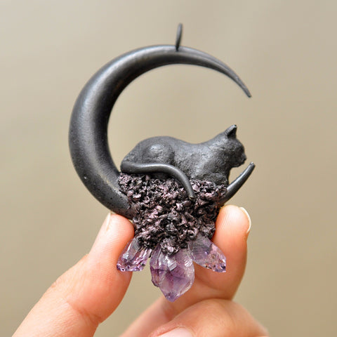 FINISHED ITEM - Hand Sculpted Black Cat, Big Size Handmade Moon, Amethyst Crystals