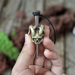 Hand Sculpted Realistic Skull Pendant, Horns, Handmade Resin Art Nail