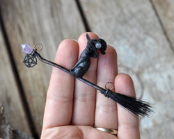 Witchy Cat Pendant, Witch Broom Pendant, Crystal Wand Pendant, Pentagram Cat Pendant, Witchy Style Jewelry