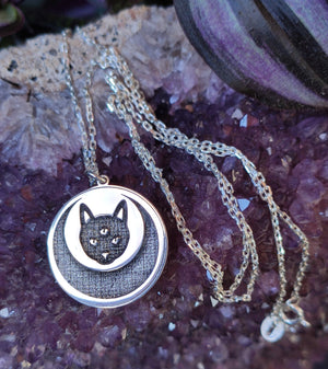3rd Eye Cat Necklace, 925 Sterling Silver Cat Jewelry, Celestial Necklace