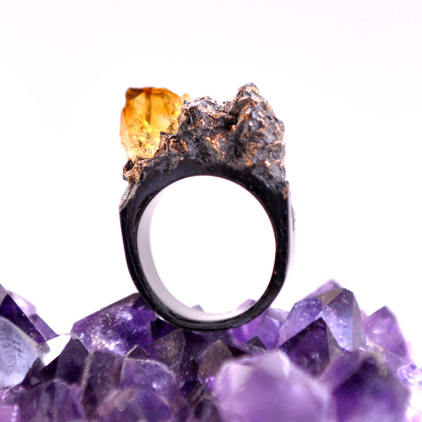 Resin Art Black Ring with a Citrine