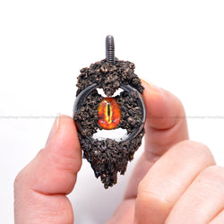 Sauron Eye Pendant, Hematite Ring, Carborundum Crystals