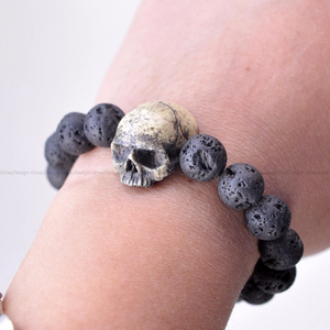 Hand Sculpted Realistic Human Skull Bracelet