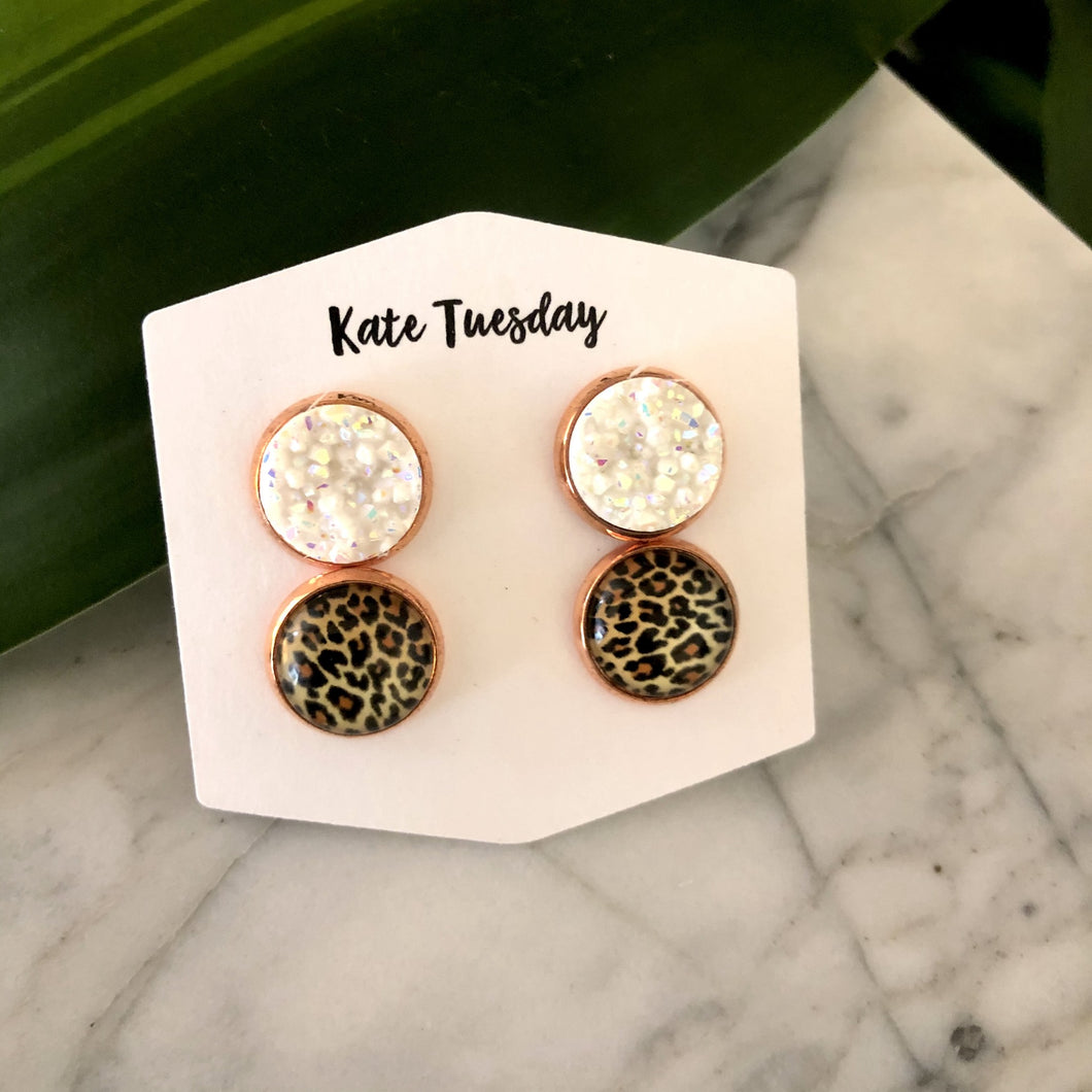 Double White + Cheetah Druzy Earrings