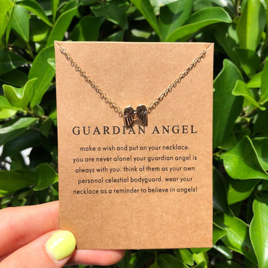 Gold Guardian Angel Necklace on Brown Card
