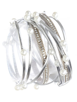 Silver Faux Pearl Leather Wrap w/ magnetic closure