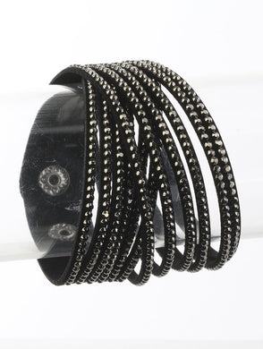 Black Studded Wrap Bracelet with snap closure