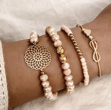 Pink, White + Rose Gold Stretchy Bracelets PRE ORDER