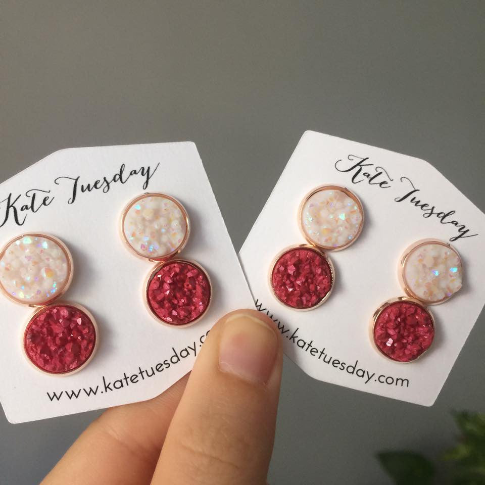 Red and White Double Druzy Earrings Set