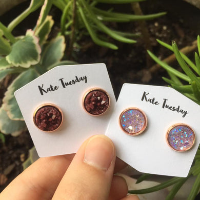 10mm Maroon and Light Purple Sparkly Druzy Earrings