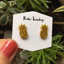 Golden Pineapple Sparkly Acrylic Earrings