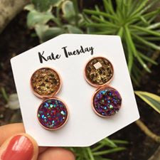 Double Sparkly Maroon + Cheetah Druzy Earrings Set