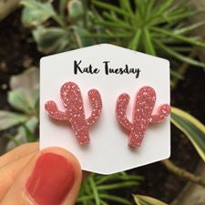 Pink Cactus Sparkly Acrylic Earrings