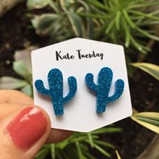 Blue Cactus Sparkly Acrylic Earrings