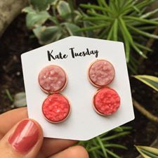Double Druzy Matte Pink + Berry Earrings Set