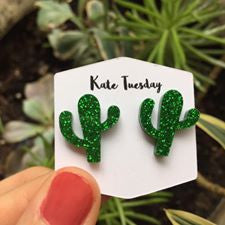 Green Cactus Sparkly Acrylic Earrings