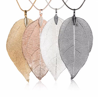 Metal Metallic Large Leaf Necklaces