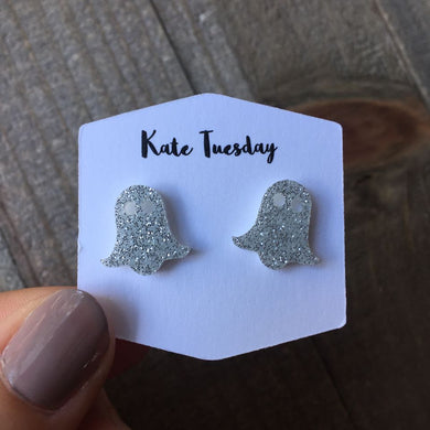 Sparkly Silver Ghost Stud Acrylic Earrings