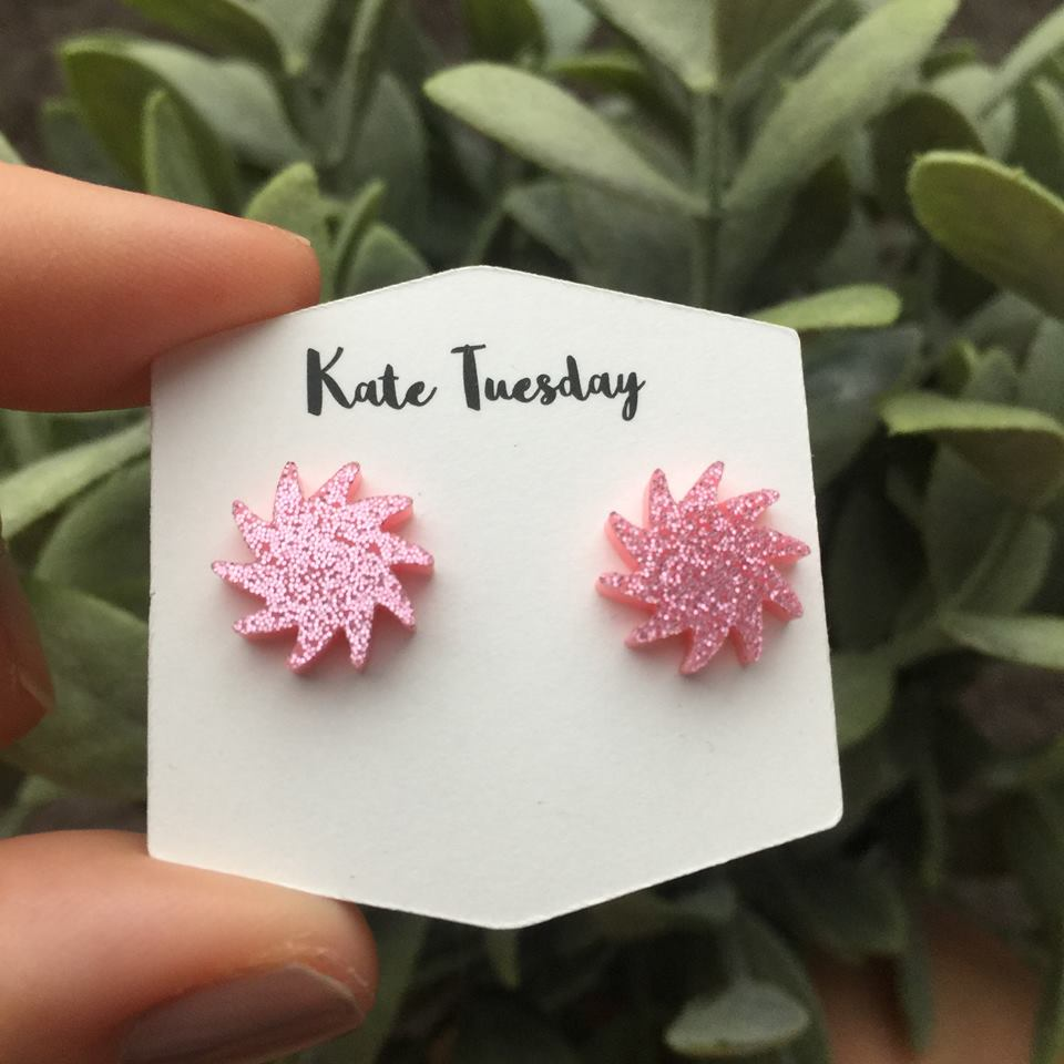 Sparkly Pink Pom Pom Stud Acrylic Earrings