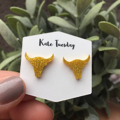 Golden Steer Head Stud Acrylic Earrings