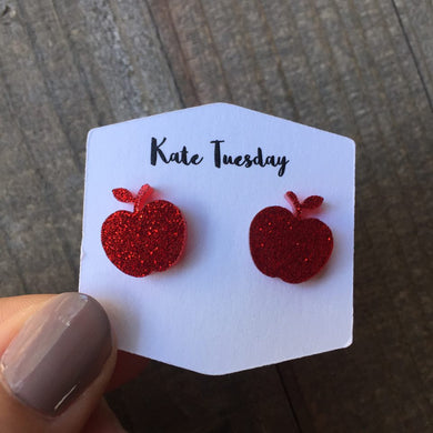 Red Sparkly Apple Stud Earrings