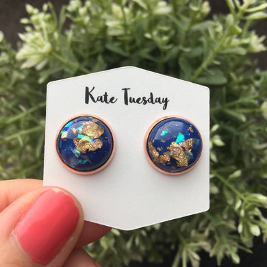 12mm Blue Gold Flake Earrings