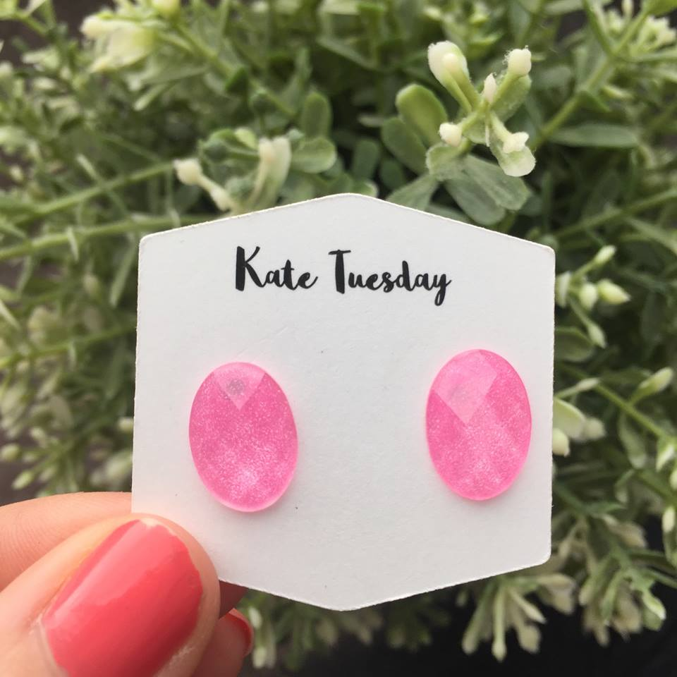 pink ombre egg shaped earrings